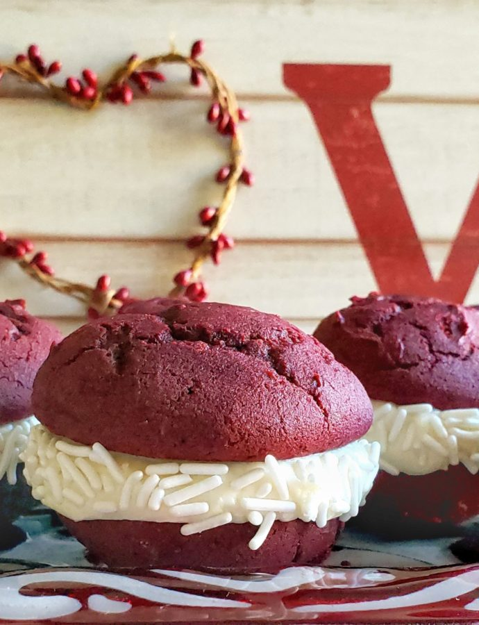 Red Velvet White Chocolate Whoopie Pies